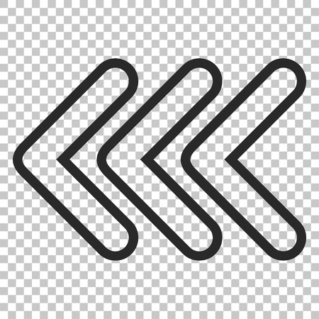 triple: Triple Pointer Left vector icon. Image style is a flat gray pictograph symbol.