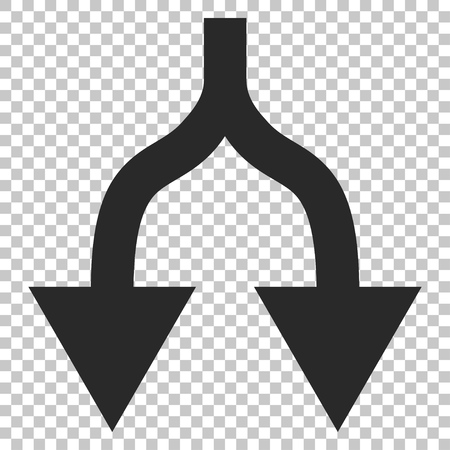 vertical divider: Split Arrows Down vector icon. Image style is a flat gray pictogram symbol.