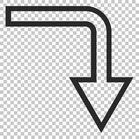 turn down: Turn Down vector icon. Image style is a flat gray icon symbol.