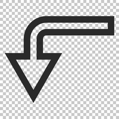 turn down: Turn Down vector icon. Image style is a flat gray pictograph symbol.