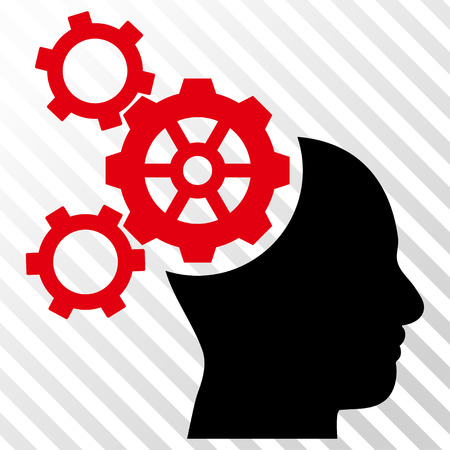 Brain Mechanics vector icon. Image style is a flat intensive red and black icon symbol on a hatch diagonal transparent background. Illustration