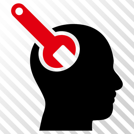 Brain Tool vector icon. Image style is a flat intensive red and black icon symbol on a hatch diagonal transparent background. Illustration