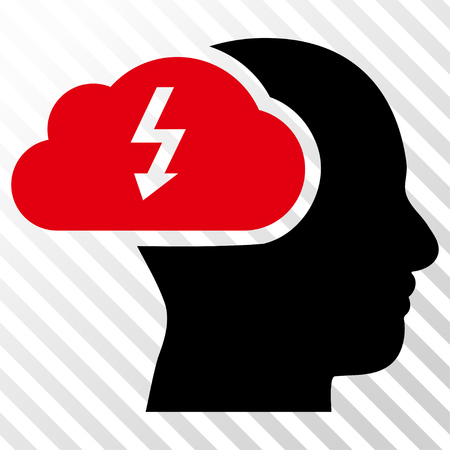 headaches: Brainstorming vector icon. Image style is a flat intensive red and black pictogram symbol on a hatch diagonal transparent background. Illustration
