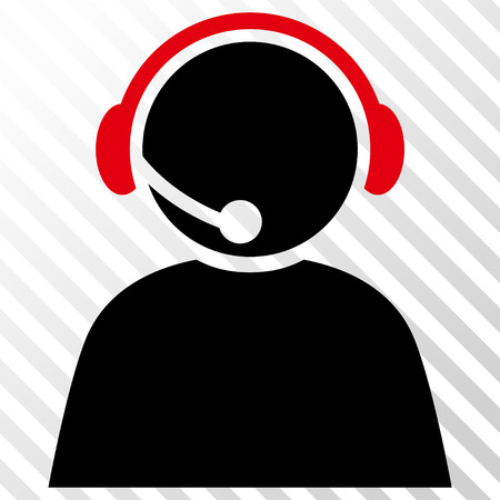 Call Center Operator vector icon. Image style is a flat intensive red and black iconic symbol on a hatch diagonal transparent background.