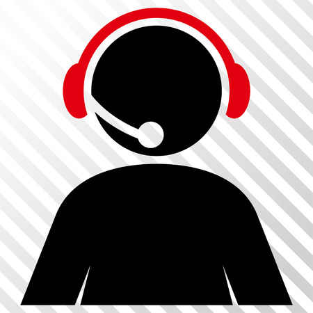 Call Center Operator vector icon. Image style is a flat intensive red and black pictogram symbol on a hatch diagonal transparent background.