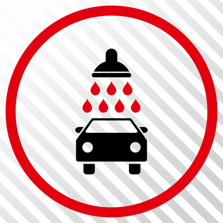 Car Shower vector icon. Image style is a flat intensive red and black iconic symbol on a hatch diagonal transparent background. Illustration
