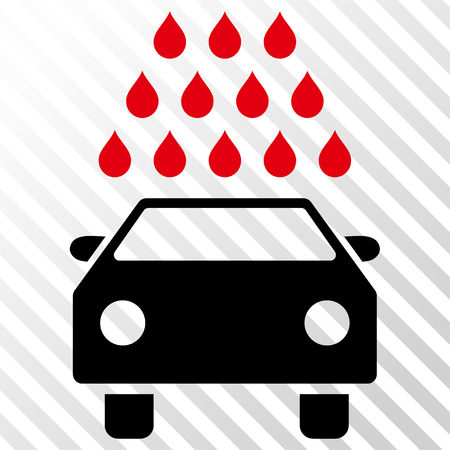 Car Wash vector icon. Image style is a flat intensive red and black pictogram symbol on a hatch diagonal transparent background. Illustration