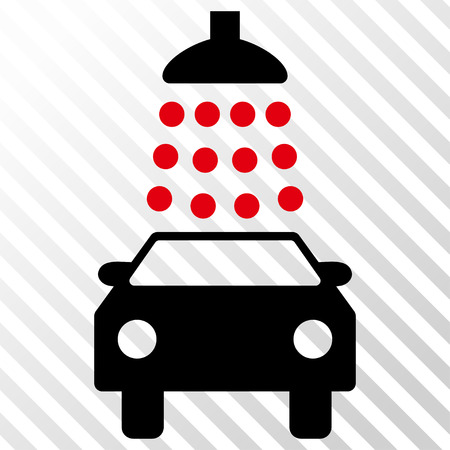 Car Wash vector icon. Image style is a flat intensive red and black pictograph symbol on a hatch diagonal transparent background.