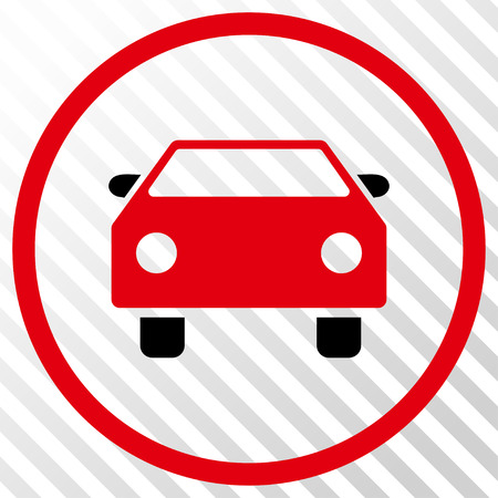 Car vector icon. Image style is a flat intensive red and black iconic symbol on a hatch diagonal transparent background.