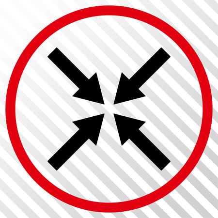 shrink: Center Arrows vector icon. Image style is a flat intensive red and black iconic symbol on a hatch diagonal transparent background.