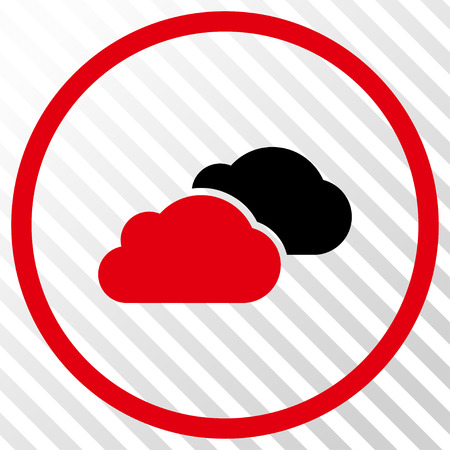 saas: Clouds vector icon. Image style is a flat intensive red and black pictogram symbol on a hatch diagonal transparent background.
