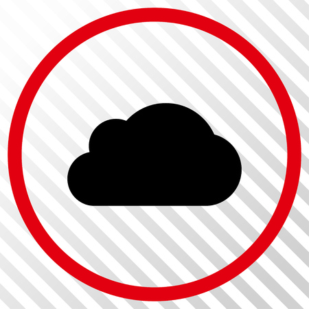 hatch: Cloud vector icon. Image style is a flat intensive red and black iconic symbol on a hatch diagonal transparent background.