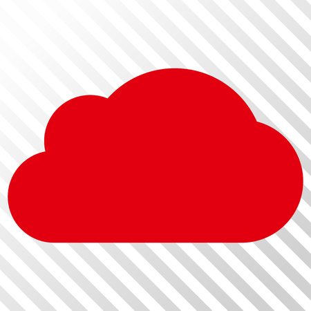 saas: Cloud vector icon. Image style is a flat intensive red and black icon symbol on a hatch diagonal transparent background. Illustration