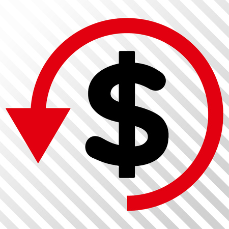 moneyback: Chargeback vector icon. Image style is a flat intensive red and black icon symbol on a hatch diagonal transparent background. Illustration