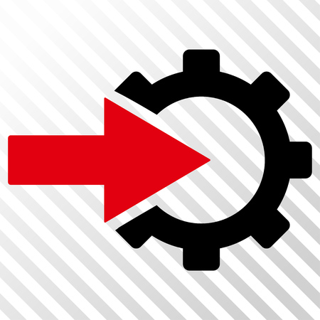 joining services: Cog Integration vector icon. Image style is a flat intensive red and black icon symbol on a hatch diagonal transparent background.