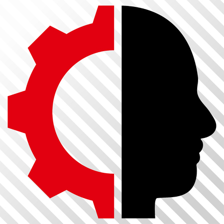 robo: Cyborg Gear vector icon. Image style is a flat intensive red and black pictogram symbol on a hatch diagonal transparent background.
