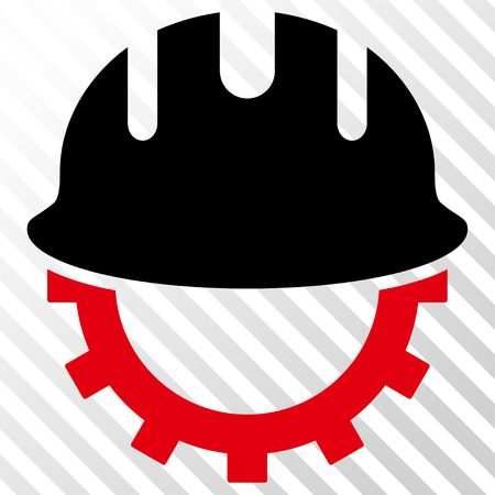 hardhat: Development Hardhat vector icon. Image style is a flat intensive red and black icon symbol on a hatch diagonal transparent background.