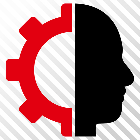 Cyborg Gear vector icon. Image style is a flat intensive red and black iconic symbol on a hatch diagonal transparent background.