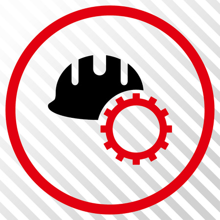 hardhat: Development Hardhat vector icon. Image style is a flat intensive red and black iconic symbol on a hatch diagonal transparent background. Illustration