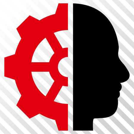 Cyborg Gear vector icon. Image style is a flat intensive red and black icon symbol on a hatch diagonal transparent background.