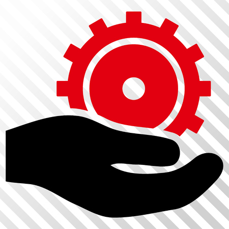 Development Service vector icon. Image style is a flat intensive red and black icon symbol on a hatch diagonal transparent background.