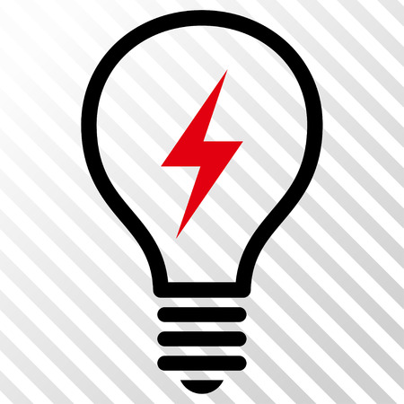 electric bulb: Electric Bulb vector icon. Image style is a flat intensive red and black icon symbol on a hatch diagonal transparent background.