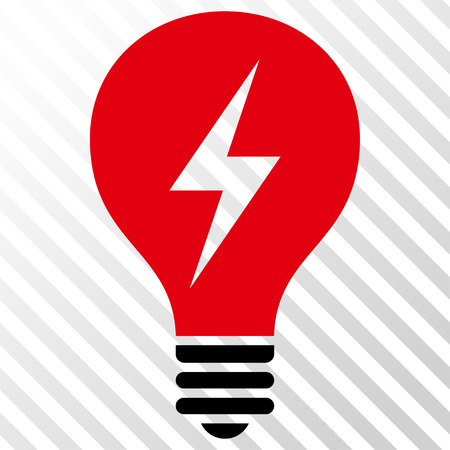 icon red: Electric Bulb vector icon. Image style is a flat intensive red and black iconic symbol on a hatch diagonal transparent background. Illustration