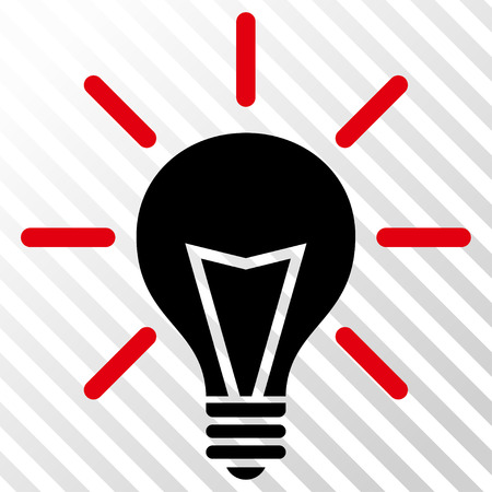 hint: Electric Light vector icon. Image style is a flat intensive red and black icon symbol on a hatch diagonal transparent background.