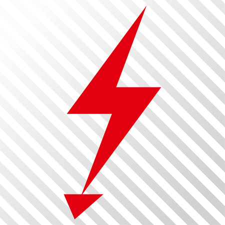 Electric Strike vector icon. Image style is a flat intensive red and black pictograph symbol on a hatch diagonal transparent background. Illustration