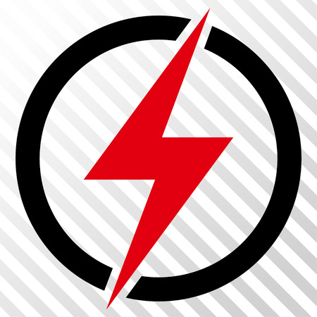 Electricity vector icon. Image style is a flat intensive red and black pictogram symbol on a hatch diagonal transparent background. Illustration