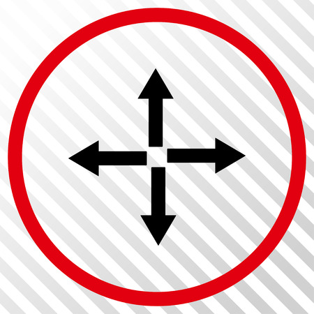 expand: Expand Arrows vector icon. Image style is a flat intensive red and black iconic symbol on a hatch diagonal transparent background. Illustration