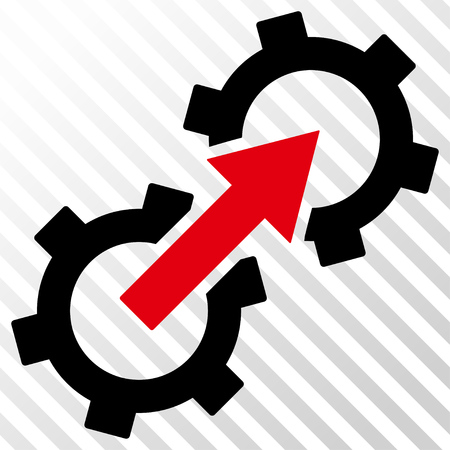Gear Integration vector icon. Image style is a flat intensive red and black pictogram symbol on a hatch diagonal transparent background.