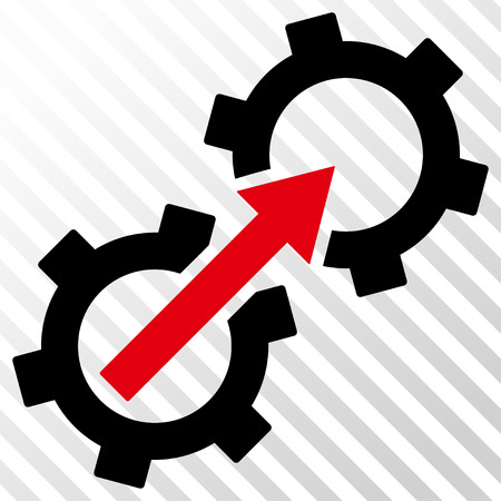 Gear Integration vector icon. Image style is a flat intensive red and black pictograph symbol on a hatch diagonal transparent background. Illustration