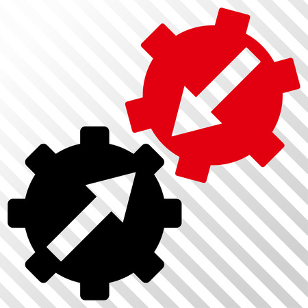 Gear Integration vector icon. Image style is a flat intensive red and black iconic symbol on a hatch diagonal transparent background.