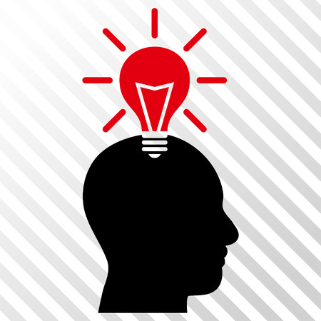 black man thinking: Genius Bulb vector icon. Image style is a flat intensive red and black pictogram symbol on a hatch diagonal transparent background. Illustration