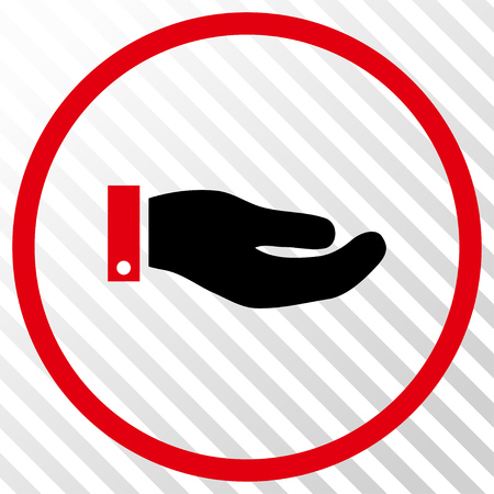 Hand vector icon. Image style is a flat intensive red and black iconic symbol on a hatch diagonal transparent background.