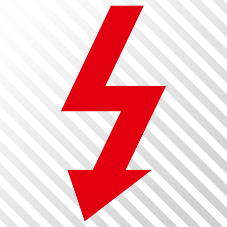 high voltage symbol: High Voltage vector icon. Image style is a flat intensive red and black pictogram symbol on a hatch diagonal transparent background.