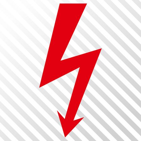 voltage symbol: High Voltage vector icon. Image style is a flat intensive red and black icon symbol on a hatch diagonal transparent background. Illustration