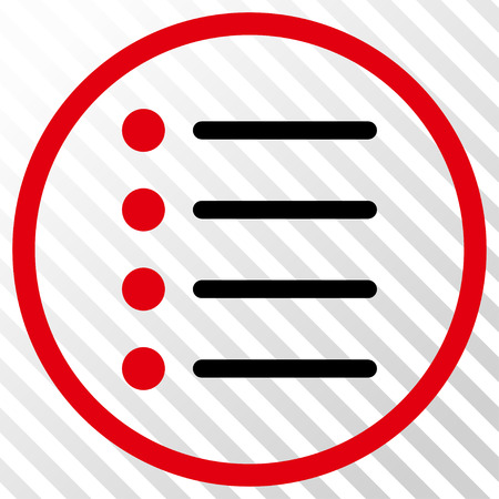 numerate: Items vector icon. Image style is a flat intensive red and black pictograph symbol on a hatch diagonal transparent background.