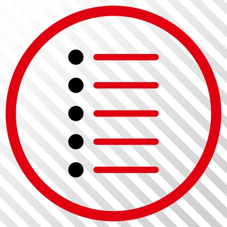 Items vector icon. Image style is a flat intensive red and black iconic symbol on a hatch diagonal transparent background.
