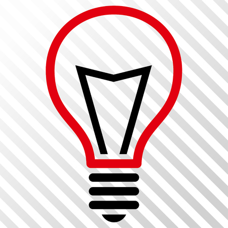 Lamp Bulb vector icon. Image style is a flat intensive red and black pictograph symbol on a hatch diagonal transparent background.
