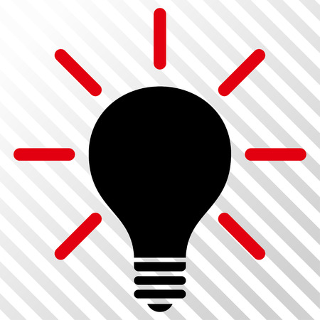 light emission: Light Bulb vector icon. Image style is a flat intensive red and black pictograph symbol on a hatch diagonal transparent background.