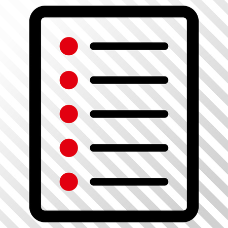 List Page vector icon. Image style is a flat intensive red and black pictograph symbol on a hatch diagonal transparent background.