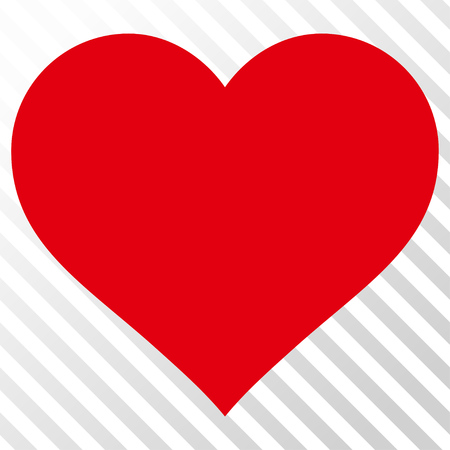 Love Heart vector icon. Image style is a flat intensive red and black pictograph symbol on a hatch diagonal transparent background.