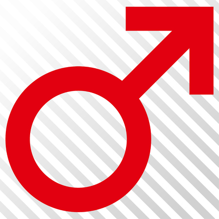 penetrate: Male Symbol vector icon. Image style is a flat intensive red and black icon symbol on a hatch diagonal transparent background. Illustration