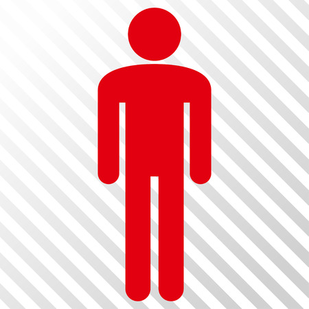 Man vector icon. Image style is a flat intensive red and black icon symbol on a hatch diagonal transparent background. Illustration