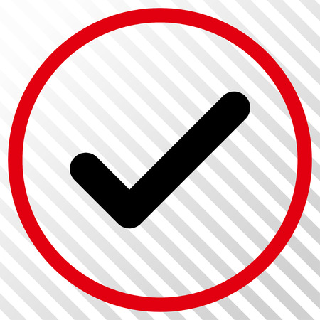 Ok vector icon. Image style is a flat intensive red and black iconic symbol on a hatch diagonal transparent background.