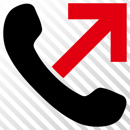 outgoing: Outgoing Call vector icon. Image style is a flat intensive red and black iconic symbol on a hatch diagonal transparent background. Illustration