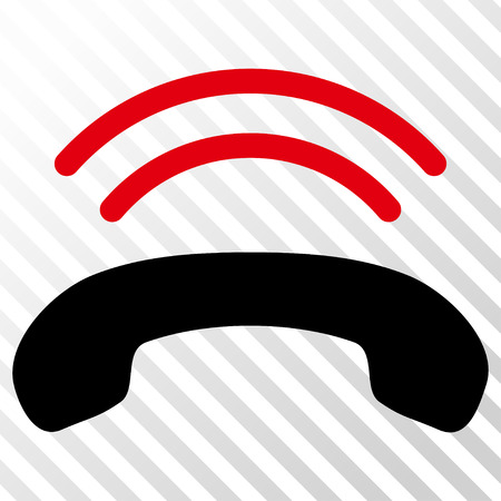 Phone Ring vector icon. Image style is a flat intensive red and black iconic symbol on a hatch diagonal transparent background. Illustration