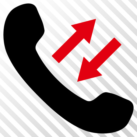 Phone Talking vector icon. Image style is a flat intensive red and black iconic symbol on a hatch diagonal transparent background.